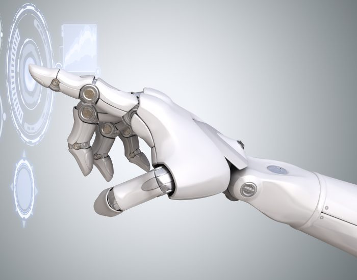 Robot's arm working with Virtual Reality touchscreen